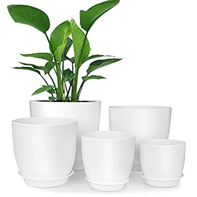 Plastic Planter, HOMENOTE 7/6.5/5.5/4.5/3.5 Inch Flower Pot Indoor Modern Decorative Plastic Pots for Plants with Drainage Hole and Tray for All House Plants, Succulents, Flowers, and Cactus, White: Garden & Outdoor