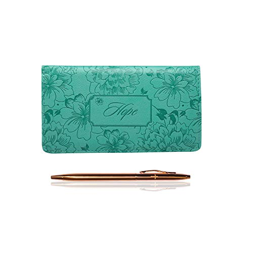 - Inspirational Christian Checkbook Cover with a Rose Gold Tone Pen Bundle (Hope)