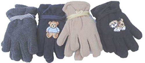 Four Pairs Mongolian Fleece Very Warm One Size Gloves for Ages 3-12 Months -