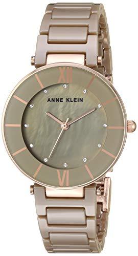 (Anne Klein Women's AK/3266KHRG Swarovski Crystal Accented Rose Gold-Tone and Khaki Ceramic Bracelet Watch)