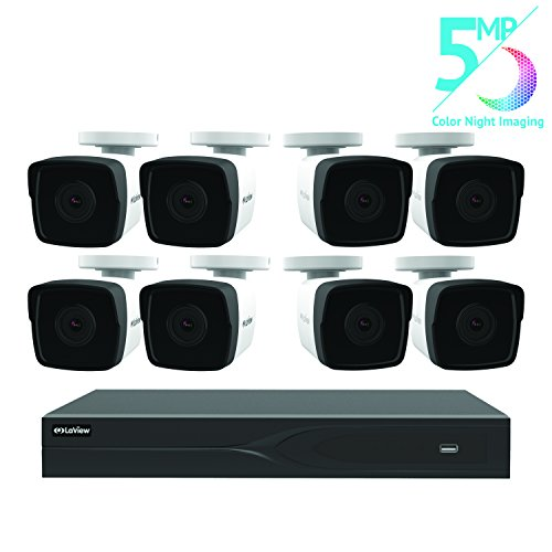 (LaView 8 Channel 5MP Business and Home Security Cameras System 1TB HDD Surveillance DVR with 8 5MP Color Night Vision Bullet Cameras )