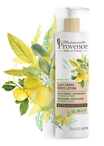 (Mademoiselle Provence Natural Refreshing Verbena Vegan Body Lotion with Organic Lemon Extracts Revitalizing and Invigorating Shea Butter Moisturizer Made in France Cruelty Free 13.5 fl oz)