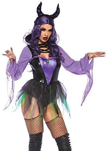 Leg Avenue Women's 2 PC Maleficent Sorceress Costume, Black/Purple, Large