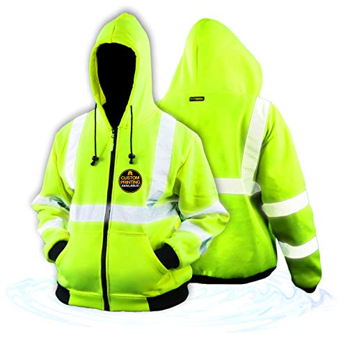 KwikSafety (Charlotte, NC) PATROL | Class 3 Fleece Hoodie Premium (No Fuzz Balls or Lint) Durable Zipper Construction Work Wear Hi Vis Reflective ANSI Compliant OSHA Approved Safety Jacket X-Large