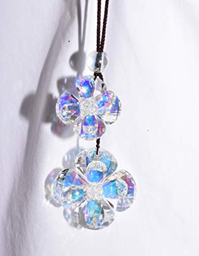 New Double Flower Hanging Iridescent Rainbow Glass Crystal 3 Dimensional Prisms Window Suncatcher Feng Shui