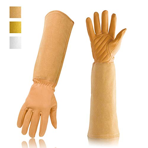 Gardening Gloves Professional Rose Pruning Thorn & Cut Proof with Long Forearm Protection for Women/Men Durable Thick Cowhide Leather Work Garden Gloves (Small, Brown)