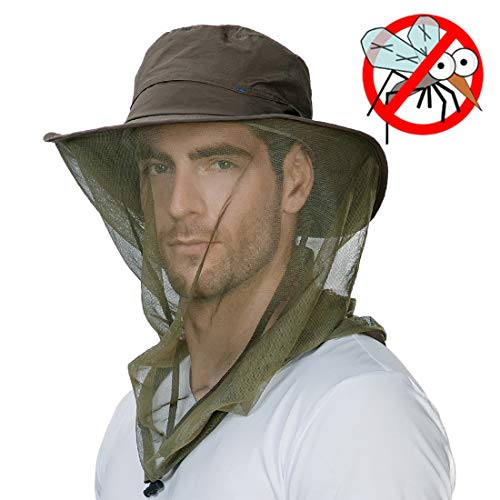 Mens Anti Mosquito Insect Bug Waterproof Safari Sun Outdoor Protection Fishing Bush Rain Hat Bucket Army Green