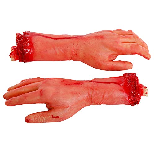 - Halloween Haunters Pair of 2 Bloody Realistic Severed Hands with Arms and Fingers Latex Prop Decoration - 12