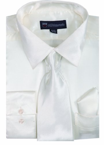 - Milano Moda Satin Classic Dress Shirts with Tie & Hankie SG08-White-19-19 1/2-36-37