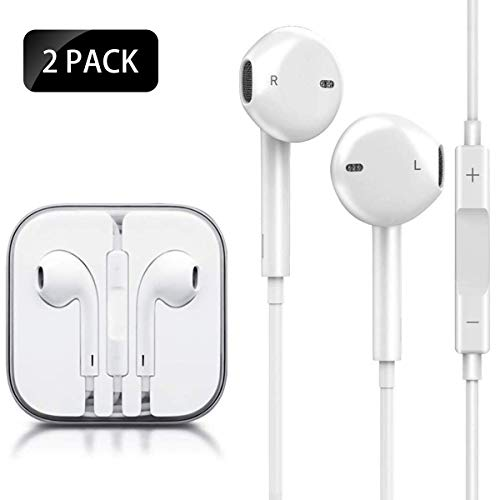 littlejian Earbuds/Earphones/Headphones Stereo Mic Remote Control Compatible with Apple iPhone 6s/6 plus/6/5s/se/5c/iPad iPod (White)(2Pack)