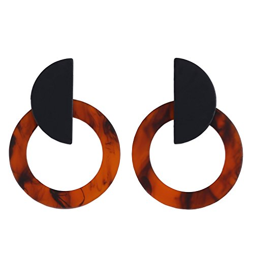 LILIE&WHITE Geometric Acrylic Stud Earrings with Swirl In Round And Semi Round Brown