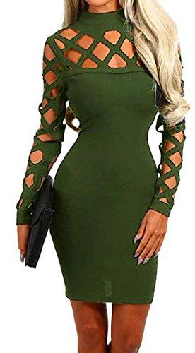 Hollow Cruiize Long Bodycon Club Sleeve Womens Pencil Elegant Dresses Armygre rrwq5x6BtW