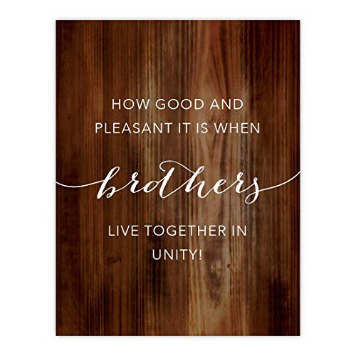 Andaz Press Christian Bible Verses 8.5x11-inch Wood Poster, Psalms 133:1: How Good and Pleasant it is When Brothers Live Together in Unity!, 1-Pack ()
