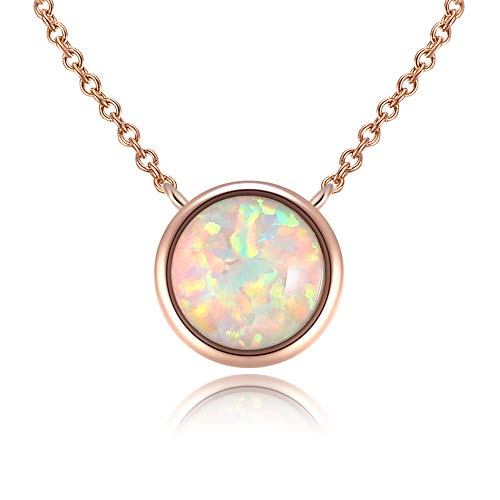 Round Bezel Set Pink/White/Blue Created Opal Chain Necklace ()