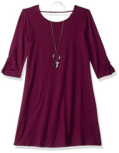 Tween Dresses Size 14 (Amy Byer Girls' Big Mid-Sleeve Knit Dress, Plum,)