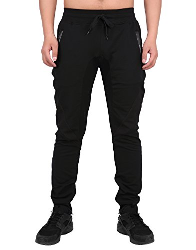 HDE Mens Workout Jogger Gym Sweatpants - Inner Zipper Ankle - 4 Zippered Pockets (Black with Black, Large)