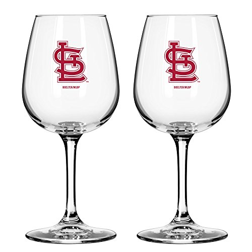 MLB St. Louis Cardinals Game Day Wine Glass, 12-ounce, (Louis Cardinals Glass)