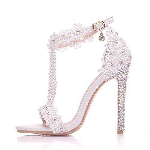 Pour Hauts Perles Idéales Dames Mariage Sandales Chaussures Ouvert Cjjc Blanches Ficelles De Les Bout À Talons zwYtx1