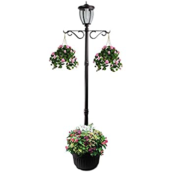 7u0027 Tall Kenwick Solar Lamp Post And Planter With Plants Hanger, Amber And  White