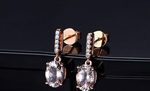 Solid 18k rose gold dangle earrings,0.07ct SI-H Diamond dangle earrings,1.65ct Oval Natural VS pink Morganite,prong (Morganite Set Earrings)