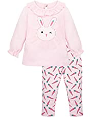 Lilax Baby Girl Easter Bunny Outfit Ruffle T-Shirt and Pant Soft Cotton 2 Piece Set