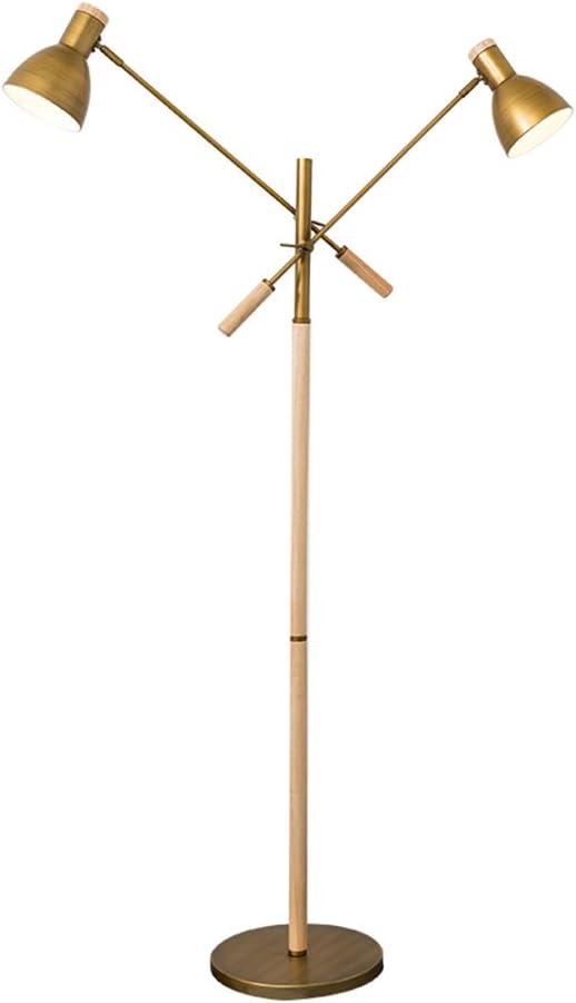 アイロンフロアランプ、現代的なシンプルさ北欧のベッドルームの寝室のリビングルームの研究のコーヒーテーブルダブルヘッドリーディングE27 * 2高128cmフットスイッチ ( 色 : 銅色 )