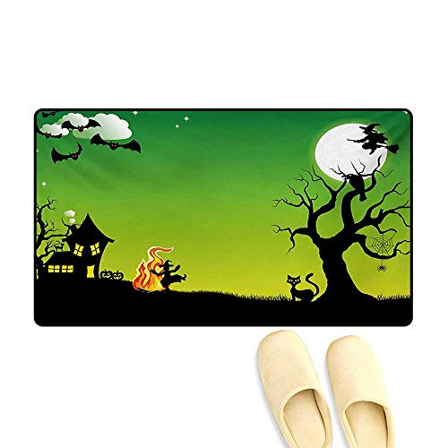 Doormat,Witches Dancing with Fire and Flying at Halloween Ancient Western Horror Image,Bath Mat 3D Digital Printing Mat,Green Black,24
