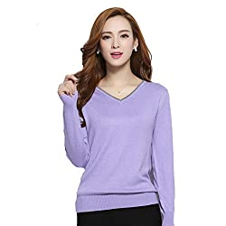 Panreddy Women S Cashmere Blended Knitted Pullovers Long Sleeve V Neck Sweater Light Purple L