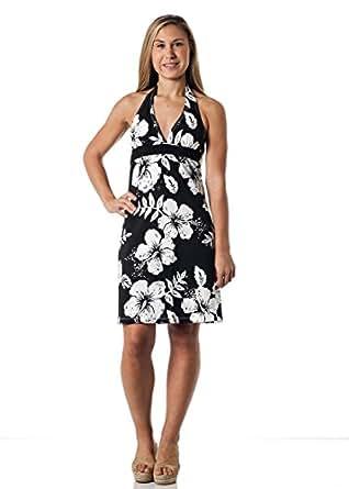 Alki'i Missy Hibiscus Halter Summer Beach Sun Dress - Kauai Print, BlackHibiscus, M