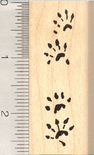 Ferret Paw Prints Rubber Stamp, Weasel Tracks