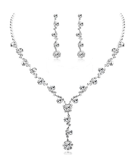Udalyn Rhinestone Bridesmaid Jewelry Sets for Women Necklace and Earring Set for Wedding with Crystal Bracelet - Jewelry Necklace Flower Earring