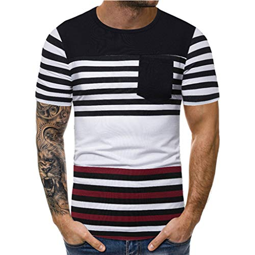 XQXCL Men's New Summer Striped Printed Short-Sleeved O-Neck Splice Blouse Top Black
