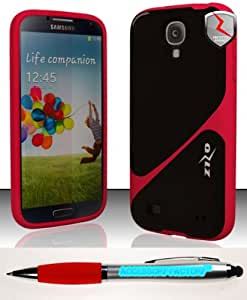 Accessory Factory(TM) Bundle (the item, 2in1 Stylus Point Pen) Samsung Galaxy S4 i9500 - ZIZO Premium TIX Case Cover Protector Red Black