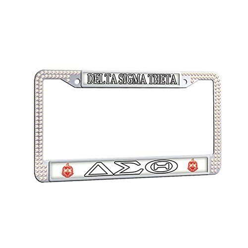 Delta Sigma Theta License Plate Frame,Greek-Lettered Sorority White Rhinestones Car Plate Frame Decorative Auto Car tag Frame ()