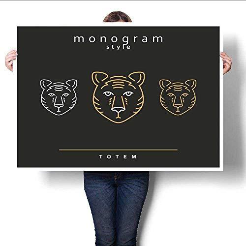 WinfreyDecor Modern Canvas Painting Wall Art Monogram Bear Totem Bears A Set of Monogrammed Bears Art Stickers ()