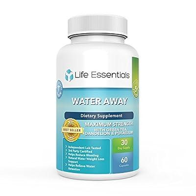 Life Essentials Water Away Natural Diuretic- Maximum Strength Herbal Blend-Dandelion,Green Tea,Juniper Berry and more-for Men and Women- Made in the USA-60 Capsules-365 Day Money Back Guarantee