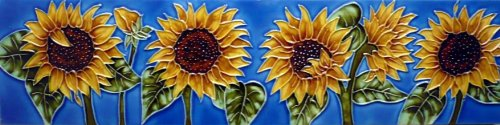 Continental Art Center MD-058 4 by 16-Inch Horizontal Sunflowers Ceramic Art (16 Hand Painted Ceramic Tiles)