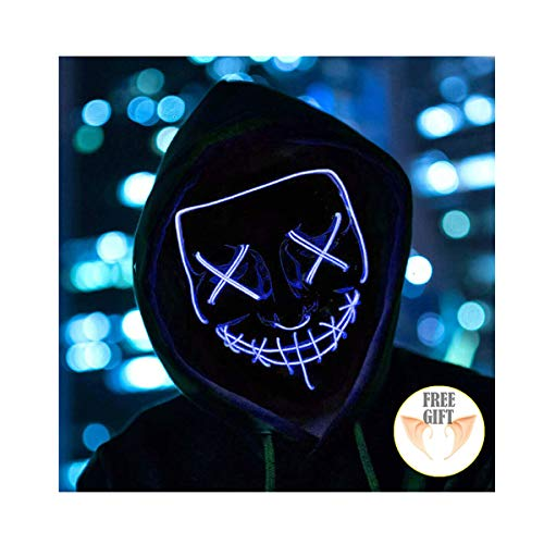 Halloween Mask Light up Mask Cosplay LED Mask Frightening Purge Mask for Festival Cosplay Halloween Parties Costume (Blue) -