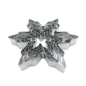 Baking Tool Snowflake Cookie Cutter Stainless Steel Fondant Cake Mould 5Pcs/Set