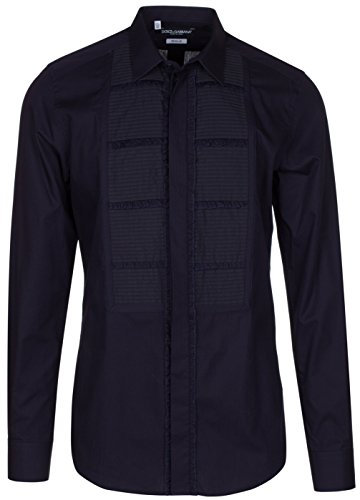 Dolce & Gabbana Men's 'Gold' Navy Blue Tuxedo Style Pleated Front Button Down Dress Shirt, Blue, 15 - Clothes Men Gabbana For Dolce And