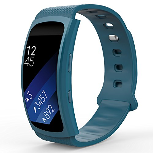 MoKo for Samsung Gear Fit2 / Gear Fit2 Pro Watch Band, Soft Silicone Replacement Sport Band for Samsung Gear Fit 2 SM-R360 / Fit 2 Pro Smart Watch, Blue (Fits 5.90