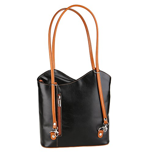 Borse Tan Woman Made Leather Cm Genuine Italy in in Chicca Black Shoulder Bag 28x30x9 fdqROw