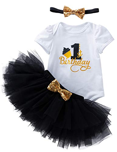 3Pcs Outfit Set Baby Girls One Year Old Birthday Lace Tutu Bodysuit Skirt with Headband (Black, 12-18 Months)]()