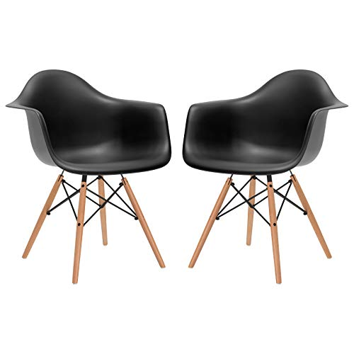Poly and Bark Modern Mid-Century Vortex Arm Side Chair with Natural Wood Legs for Kitchen, Living Room and Dining Room, Black Set of 2