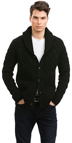 Shawl Collar Cardigans - 100% Tibetan Yak Wool - Citizen Cashmere (Black), L
