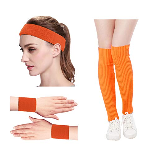 (Kimberly's Knit Women 80s Neon Pink Running Headband Wristbands Leg Warmers Set (Free,)