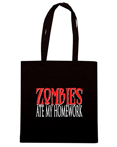 T-Shirtshock - Bolsa para la compra TZOM0070 zombies ate my homework kids Negro