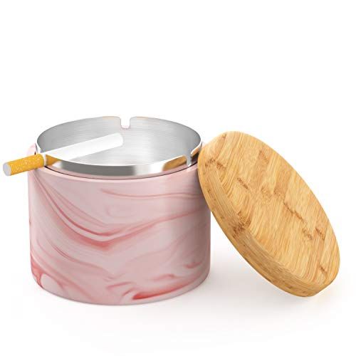 Pink Small Ashtray - SEA or STAR Ceramic Ashtray with Lid Windproof Home or Outdoor Ashtrays for Cigarettes (Pink)
