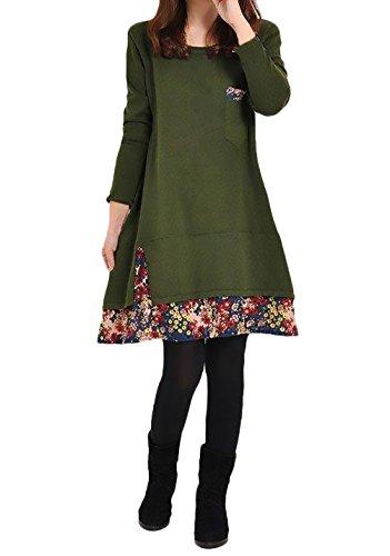 Collo Etno Larghi Autunno Vestito Rotondo Inverno shirt Eleganti Vestitini Corti Stampato Floreale Donna Vestiti T Manica Casual Verde Lunga Vintage Cucitura Moda Giovane Style 06SXq