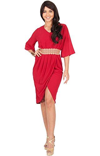 KOH KOH Womens Half Sleeve Chiffon Lace Bridesmaid Semi Formal Summer Casual Party Wedding Guest Wrap Knee Length Cute Sun Mini Midi Dress Dresses For Women, Crimson Red M 8-10 (1)